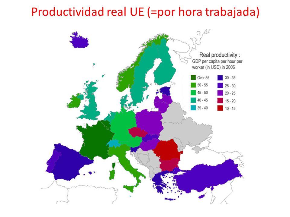 Productividad real UE (=por hora trabajada)