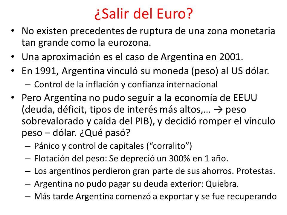 ¿Salir del Euro No existen precedentes de ruptura de una zona monetaria tan grande como la eurozona.