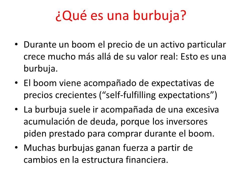¿Qué es una burbuja Durante un boom el precio de un activo particular crece mucho más allá de su valor real: Esto es una burbuja.