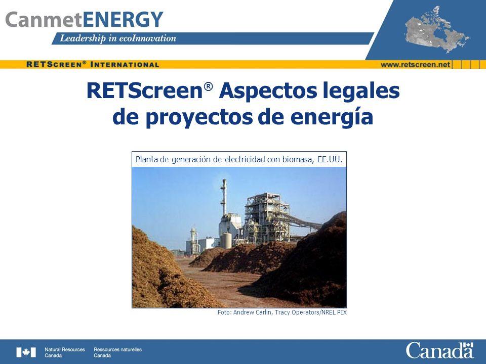RETScreen® Aspectos legales de proyectos de energía