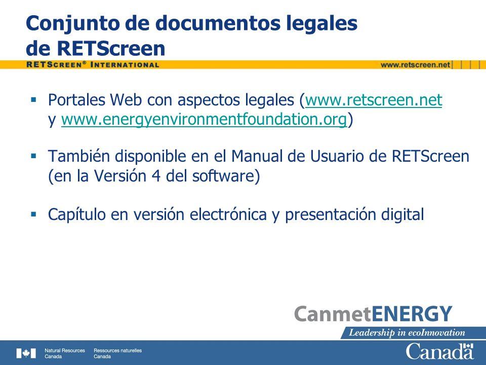 Conjunto de documentos legales de RETScreen