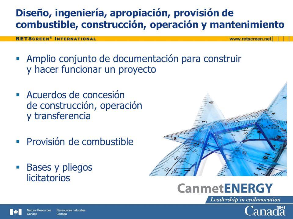 Diseño, ingeniería, apropiación, provisión de combustible, construcción, operación y mantenimiento