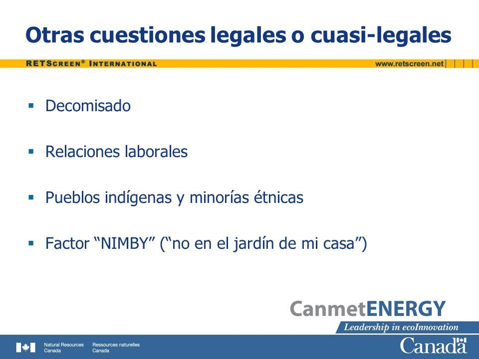 Otras cuestiones legales o cuasi-legales
