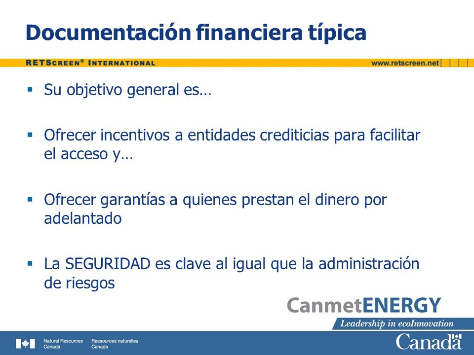 Documentación financiera típica