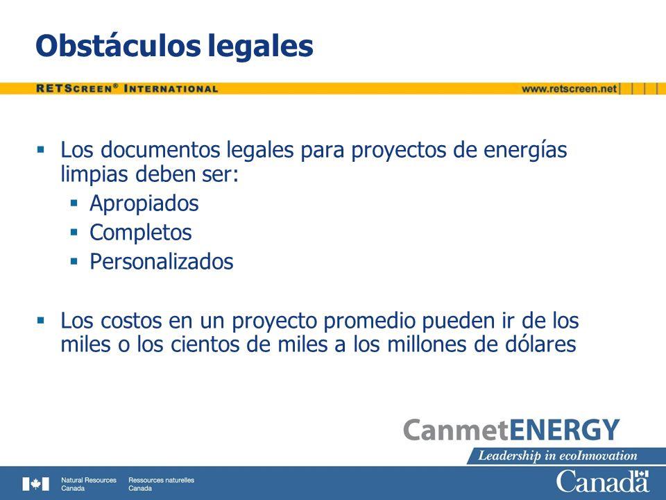 Obstáculos legales Los documentos legales para proyectos de energías limpias deben ser: Apropiados.