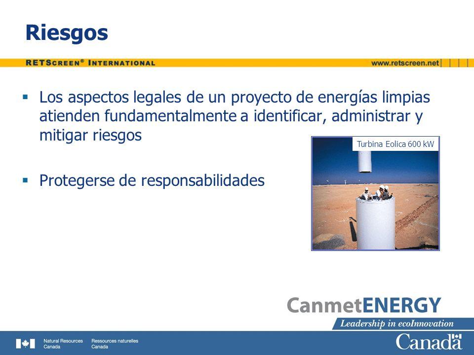 Riesgos Los aspectos legales de un proyecto de energías limpias atienden fundamentalmente a identificar, administrar y mitigar riesgos.