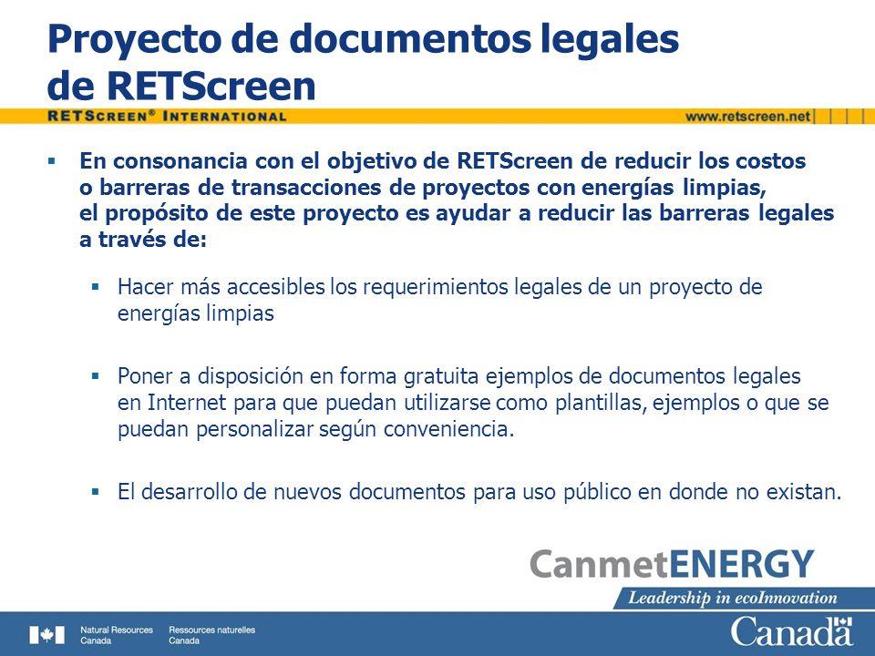 Proyecto de documentos legales de RETScreen