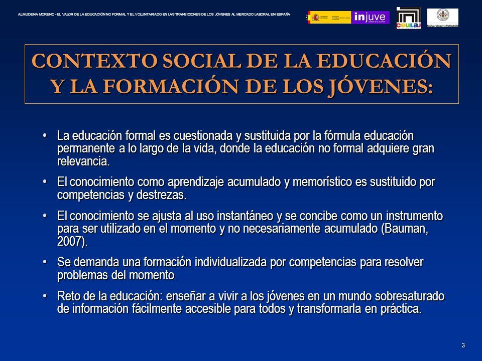 CONTEXTO SOCIAL DE LA EDUCACIÓN Y LA FORMACIÓN DE LOS JÓVENES: