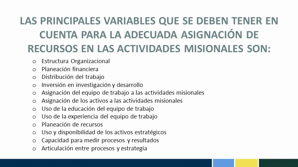 LAS PRINCIPALES VARIABLES QUE SE DEBEN TENER EN CUENTA PARA LA ADECUADA ASIGNACIÓN DE RECURSOS EN LAS ACTIVIDADES MISIONALES SON: