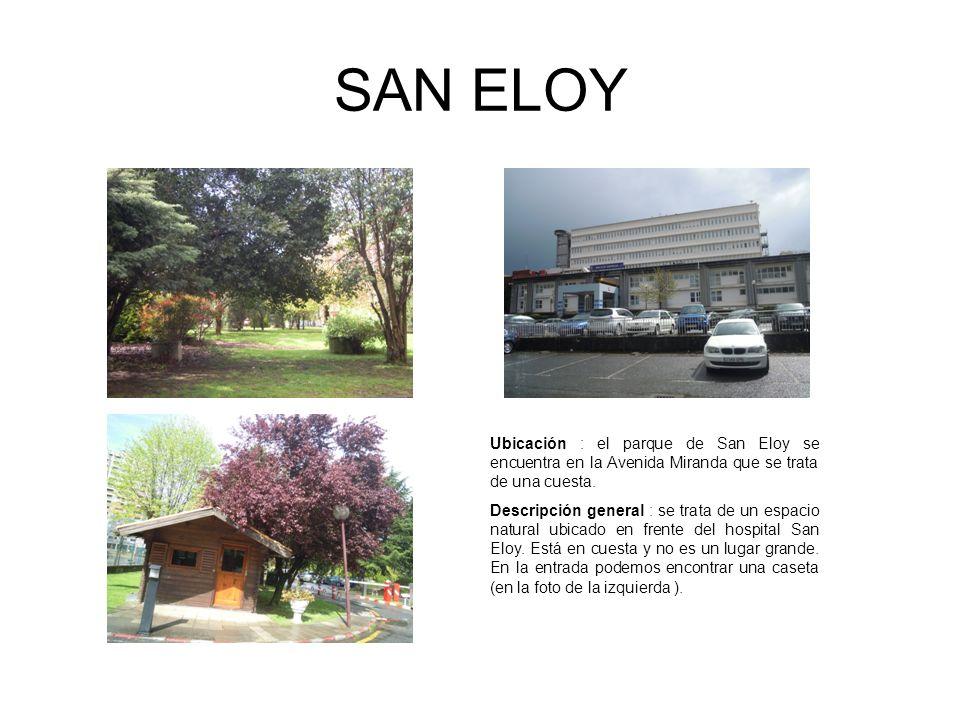 SAN ELOY Ubicación : el parque de San Eloy se encuentra en la Avenida Miranda que se trata de una cuesta.