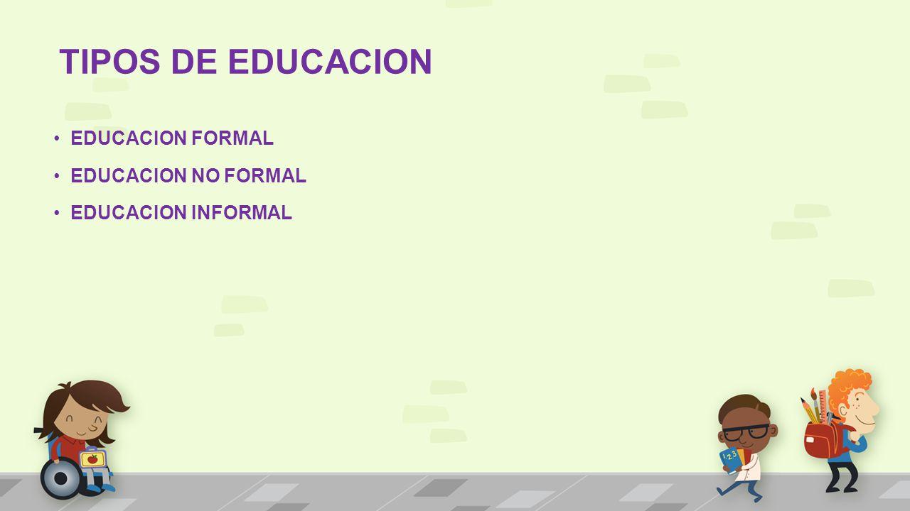 TIPOS DE EDUCACION EDUCACION FORMAL EDUCACION NO FORMAL