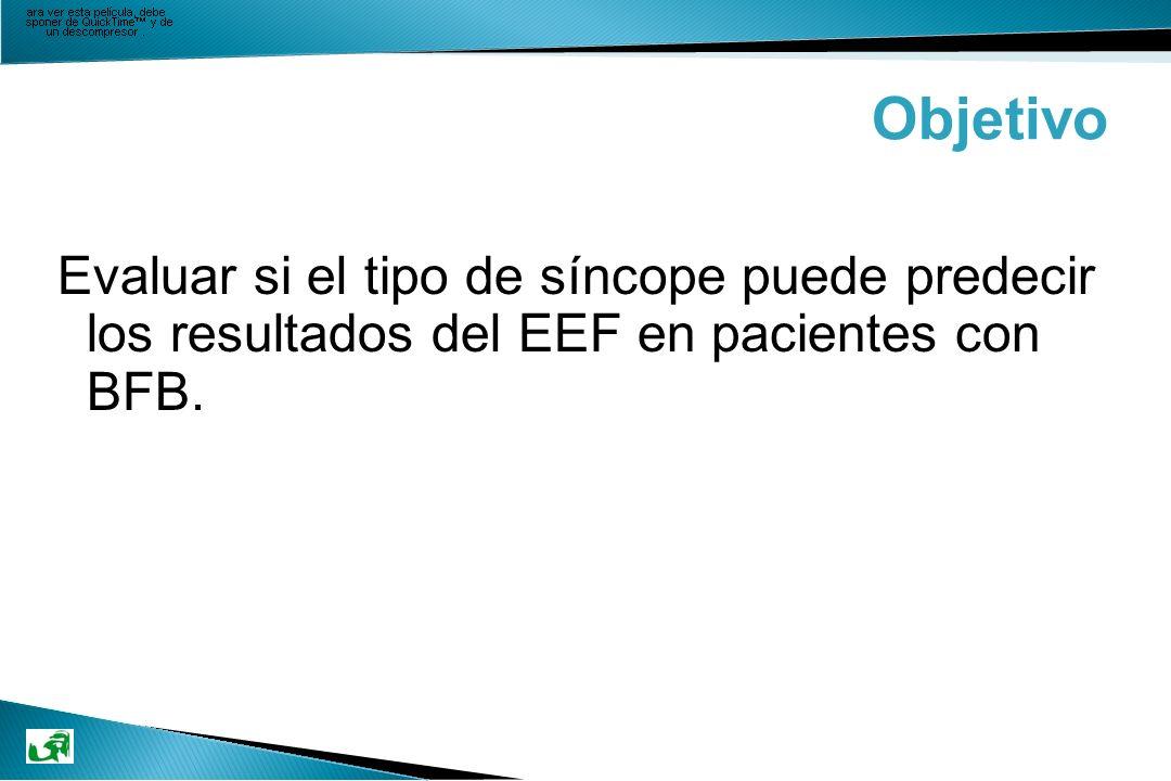 ObjetivoEvaluar si el tipo de síncope puede predecir los resultados del EEF en pacientes con BFB.