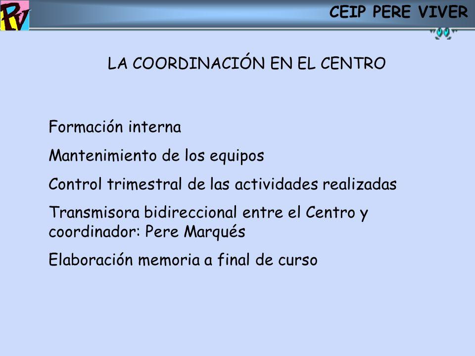 CEIP PERE VIVERLA COORDINACIÓN EN EL CENTRO. . Formación interna. Mantenimiento de los equipos. Control trimestral de las actividades realizadas.