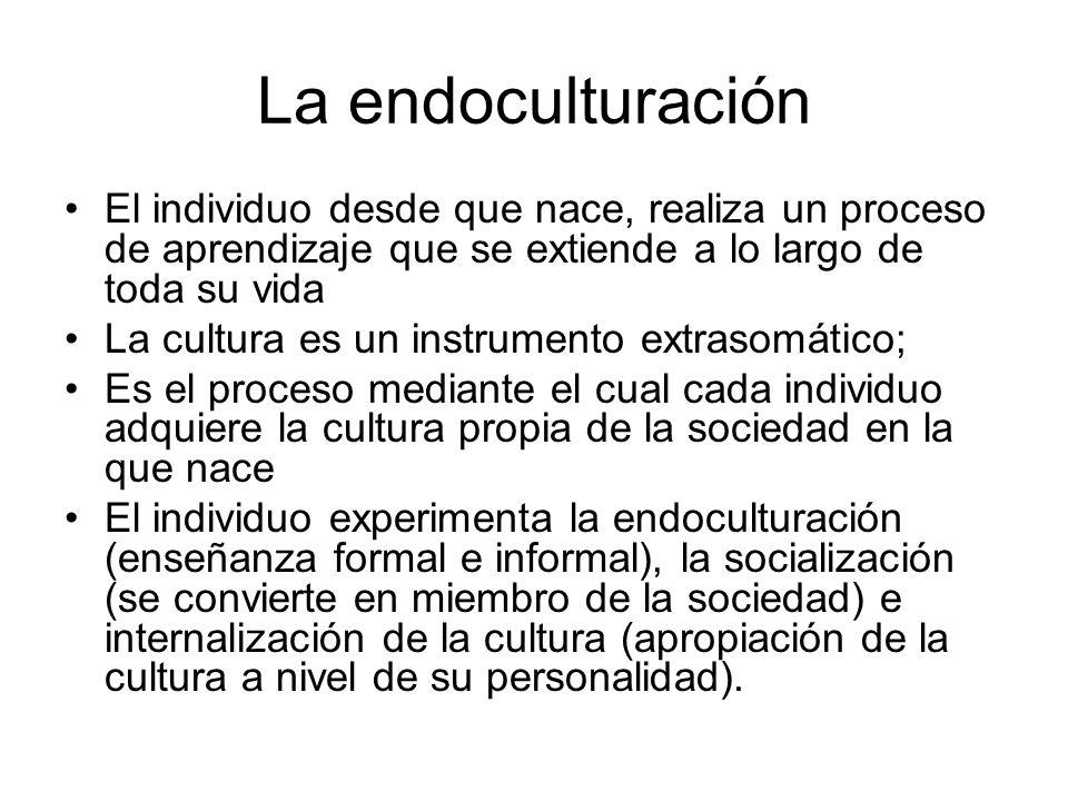 La endoculturación El individuo desde que nace, realiza un proceso de aprendizaje que se extiende a lo largo de toda su vida.