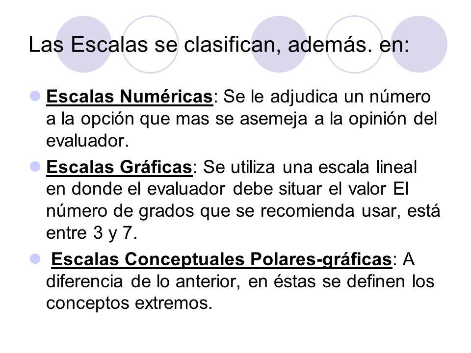 Las Escalas se clasifican, además. en:
