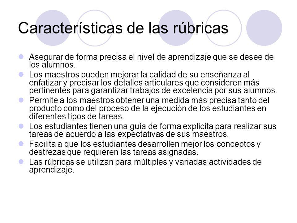 Características de las rúbricas