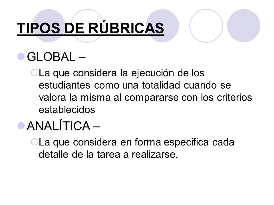 TIPOS DE RÚBRICAS GLOBAL – ANALÍTICA –
