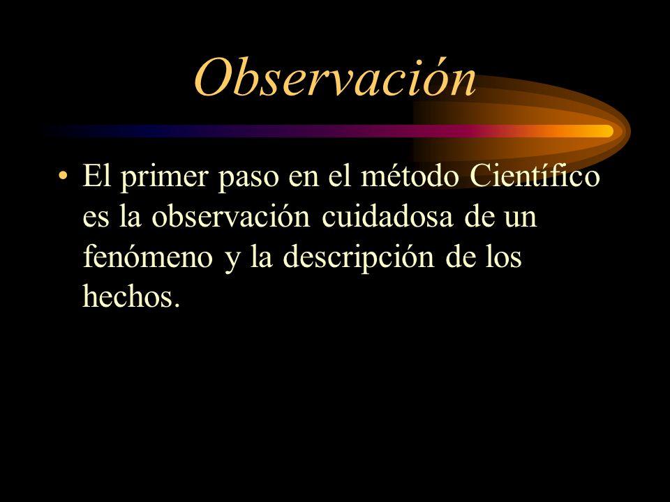 Observación El primer paso en el método Científico es la observación cuidadosa de un fenómeno y la descripción de los hechos.