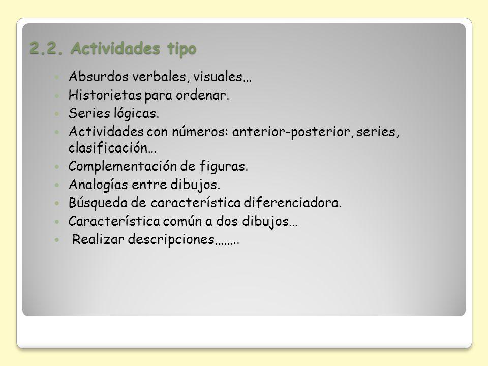 2.2. Actividades tipo Absurdos verbales, visuales…