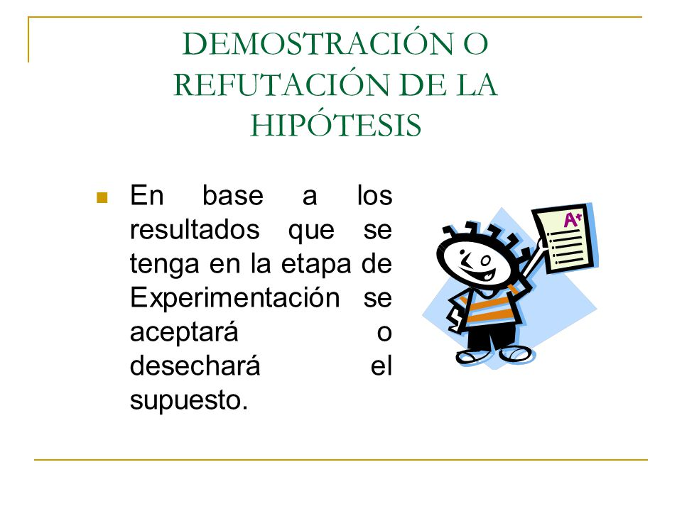DEMOSTRACIÓN O REFUTACIÓN DE LA HIPÓTESIS