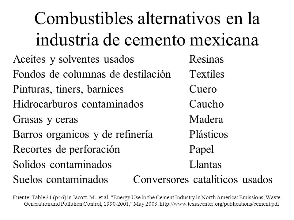 Combustibles alternativos en la industria de cemento mexicana