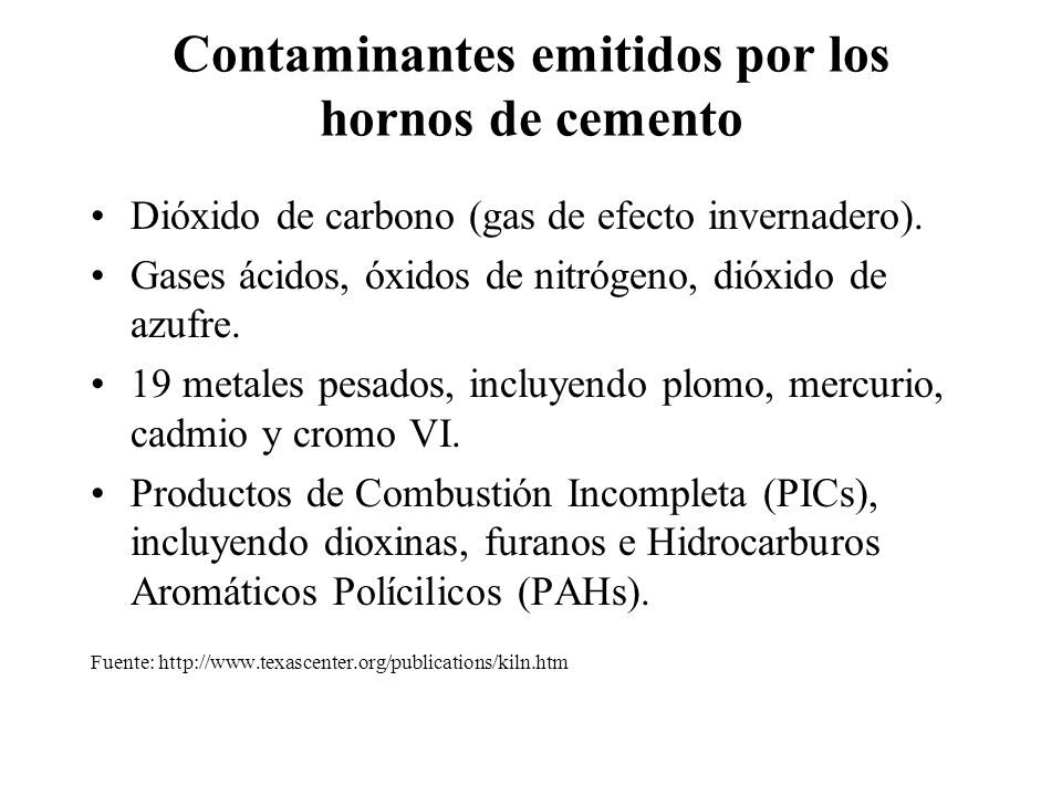 Contaminantes emitidos por los hornos de cemento