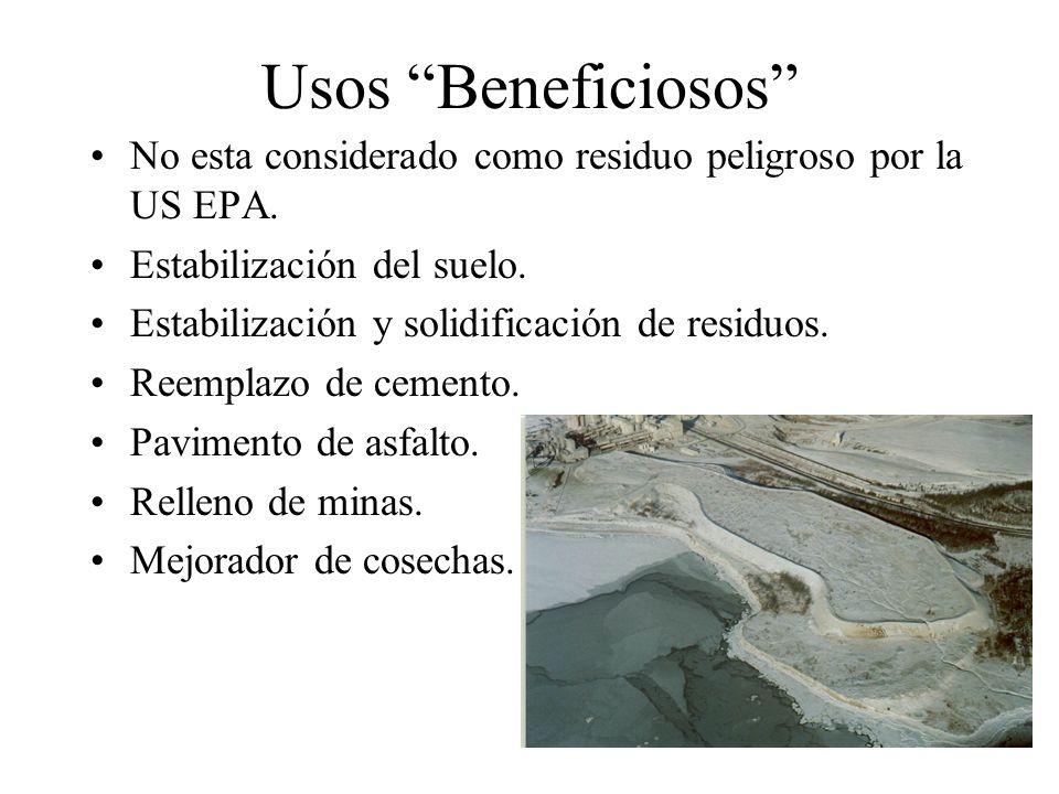 Usos Beneficiosos No esta considerado como residuo peligroso por la US EPA. Estabilización del suelo.