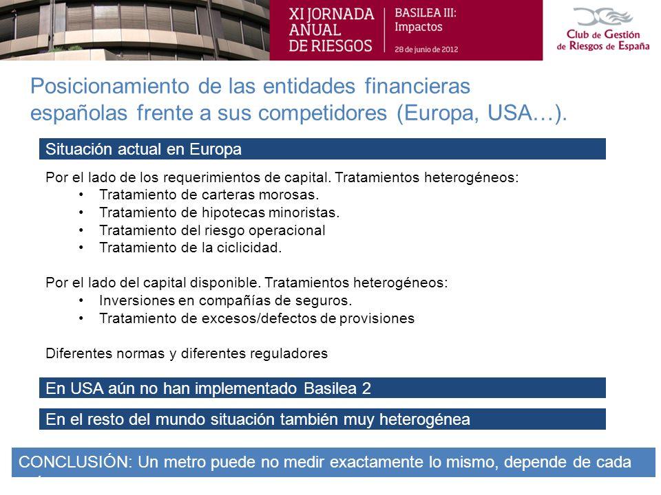Posicionamiento de las entidades financieras españolas frente a sus competidores (Europa, USA…).
