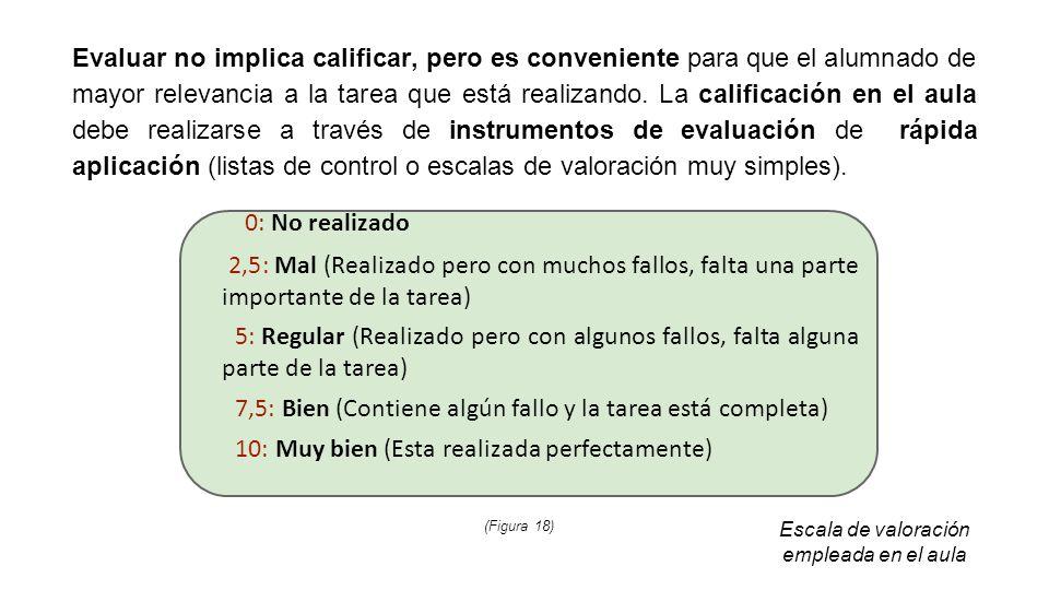 Evaluar no implica calificar, pero es conveniente para que el alumnado de mayor relevancia a la tarea que está realizando. La calificación en el aula debe realizarse a través de instrumentos de evaluación de rápida aplicación (listas de control o escalas de valoración muy simples).