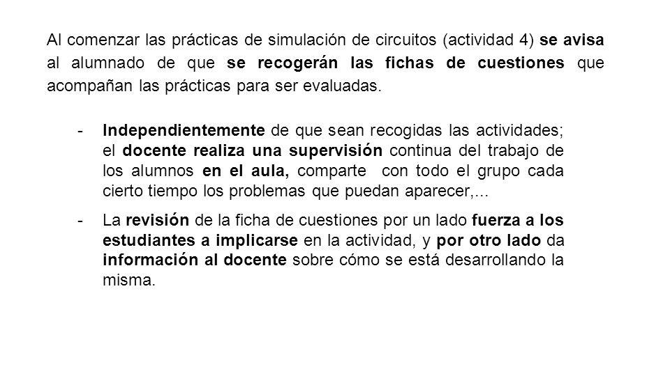 Al comenzar las prácticas de simulación de circuitos (actividad 4) se avisa al alumnado de que se recogerán las fichas de cuestiones que acompañan las prácticas para ser evaluadas.