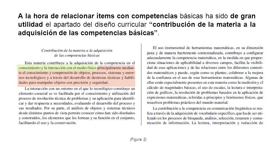 A la hora de relacionar ítems con competencias básicas ha sido de gran utilidad el apartado del diseño curricular contribución de la materia a la adquisición de las competencias básicas .