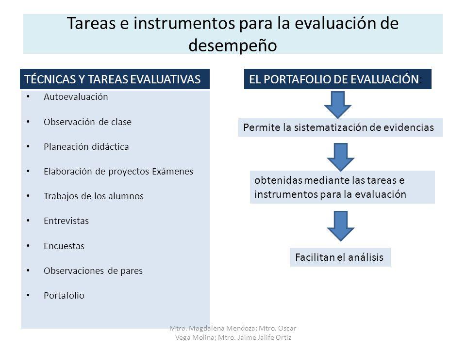 Tareas e instrumentos para la evaluación de desempeño