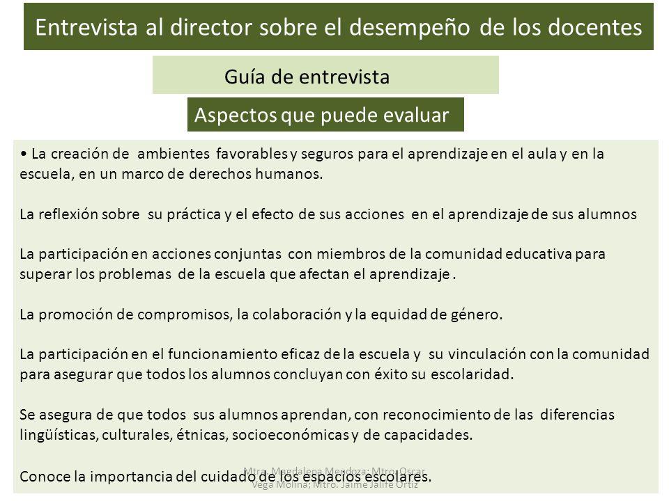 Entrevista al director sobre el desempeño de los docentes