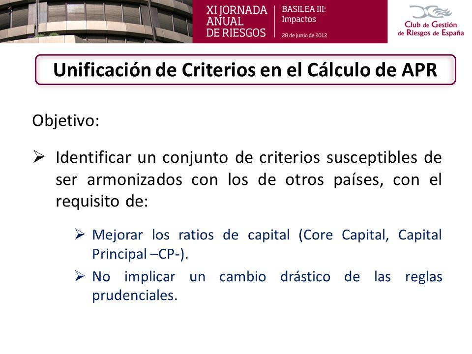 Unificación de Criterios en el Cálculo de APR