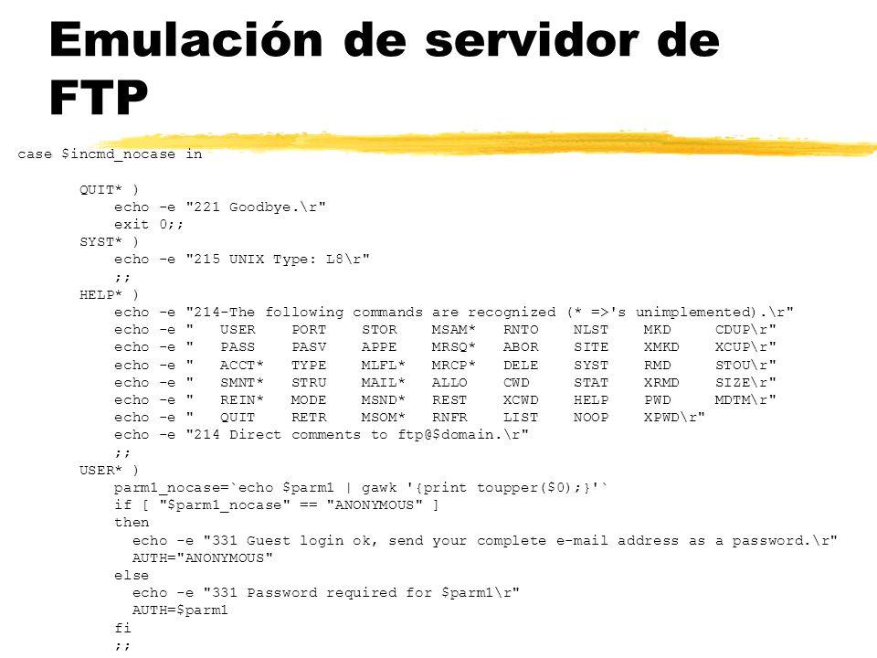 Emulación de servidor de FTP