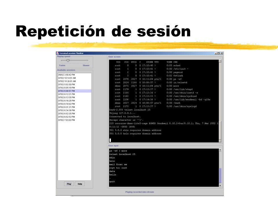 Repetición de sesión La última versión de ManTrap (la 3.0) tiene la capacidad de reproducir ataques, pulsación por pulsación, incluso en tiempo real.