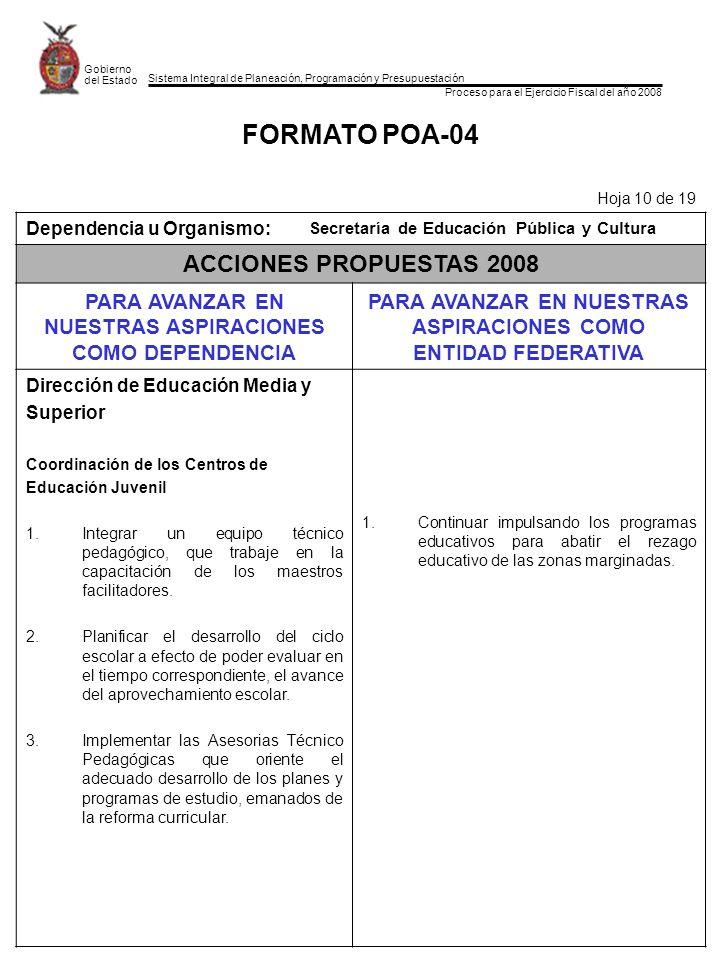 Programa Operativo Anual Secretaría de Educación Pública y Cultura ...