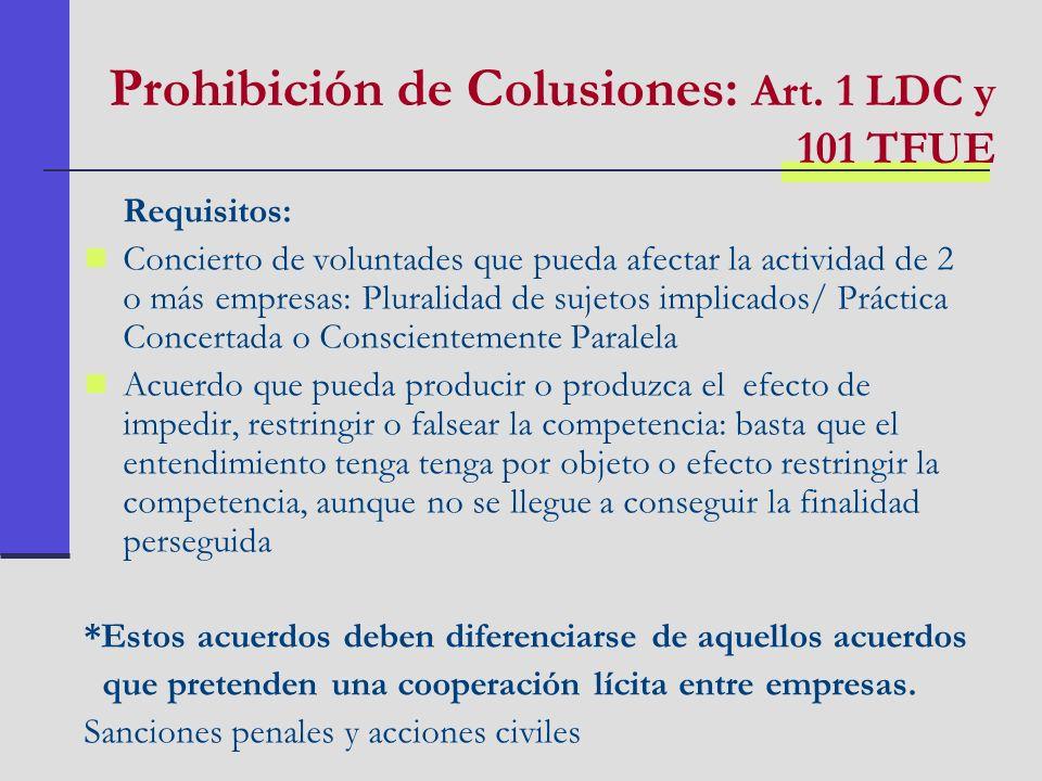 Prohibición de Colusiones: Art. 1 LDC y 101 TFUE