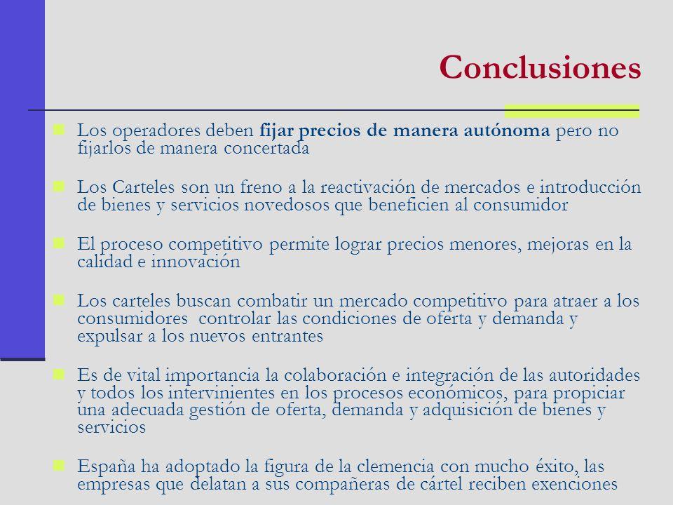 Conclusiones Los operadores deben fijar precios de manera autónoma pero no fijarlos de manera concertada.