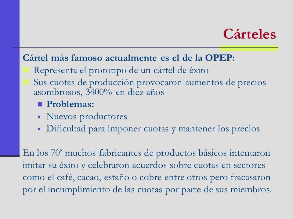 Cárteles Cártel más famoso actualmente es el de la OPEP: