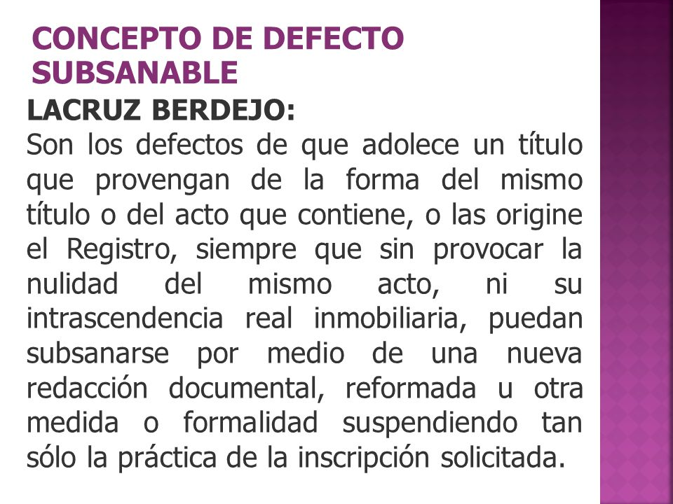 CONCEPTO DE DEFECTO SUBSANABLE