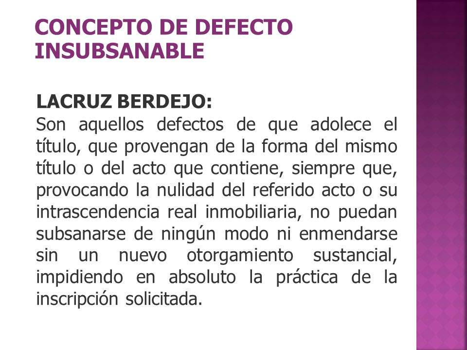 CONCEPTO DE DEFECTO INSUBSANABLE