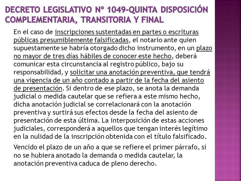 Decreto Legislativo Nº 1049-QUINTA DISPOSICIÓN COMPLEMENTARIA, TRANSITORIA Y FINAL