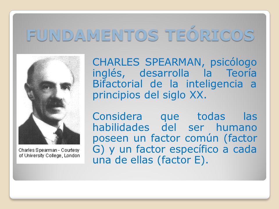 FUNDAMENTOS TEÓRICOS CHARLES SPEARMAN, psicólogo inglés, desarrolla la Teoría Bifactorial de la inteligencia a principios del siglo XX.