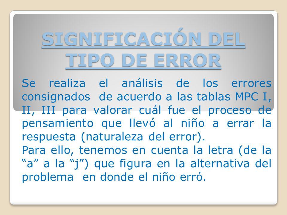 SIGNIFICACIÓN DEL TIPO DE ERROR