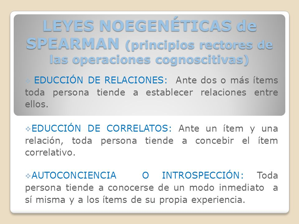 LEYES NOEGENÉTICAS de SPEARMAN (principios rectores de las operaciones cognoscitivas)