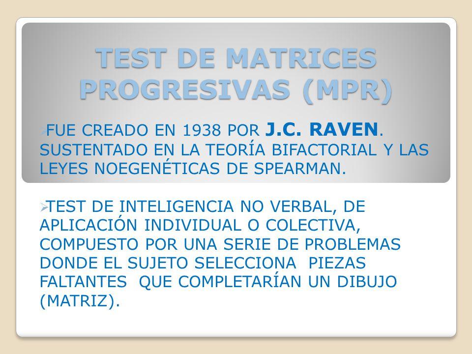 TEST DE MATRICES PROGRESIVAS (MPR)