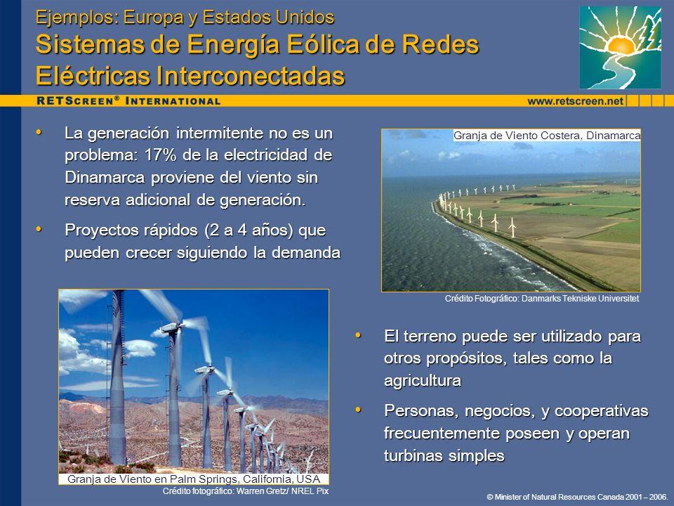 Ejemplos: Europa y Estados Unidos Sistemas de Energía Eólica de Redes Eléctricas Interconectadas
