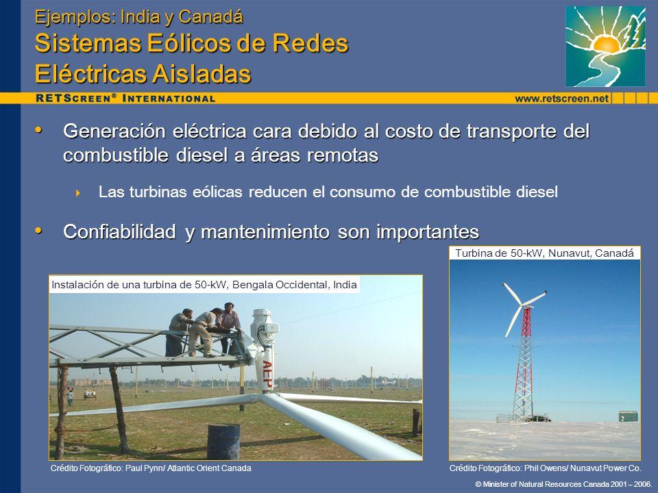 Ejemplos: India y Canadá Sistemas Eólicos de Redes Eléctricas Aisladas