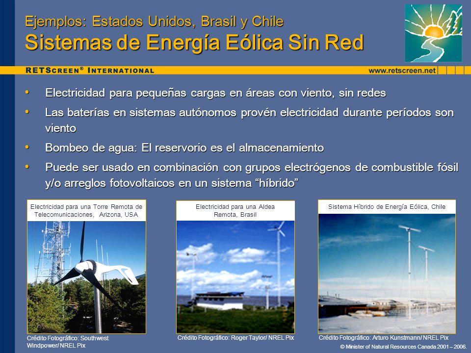 Ejemplos: Estados Unidos, Brasil y Chile Sistemas de Energía Eólica Sin Red